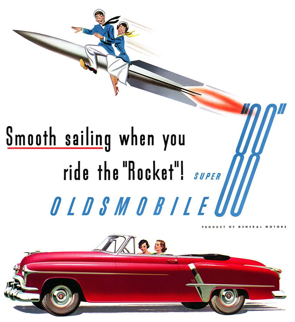 """Smooth Sailing When You Ride the """"Rocket""""! ~ 1951 Oldsmobile ad"""