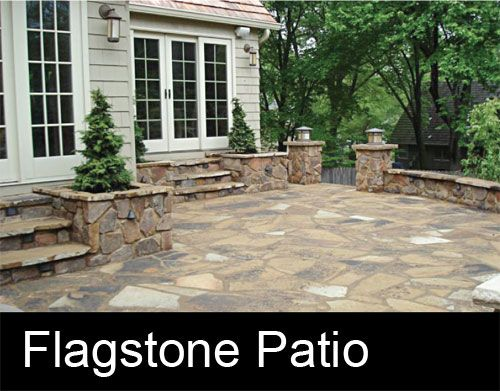 Nice idea: Flagstone patio w/ flagstone planters and steps. - On The Honey-do List Ideas For Our Backyard/porch Pinterest