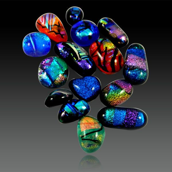 15Pcs Gorgeous Multi Color Dichroic Glass Cabochon Jewelry Gemstone GS01023 #shining_gems #Dichroicglass #jewelrygemstone