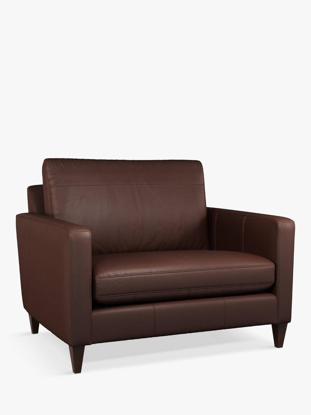 John Lewis & Partners Bailey Leather Snuggler, Dark Leg