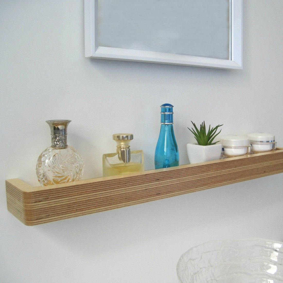 Floating Shelves With Lip Brilliant Slimline Floating Shelf  Birch Ply Birch And Shelves Decorating Design