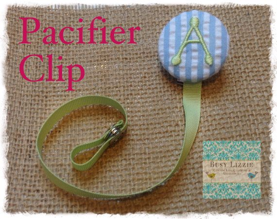 A thru Z Blue and Green Monogrammed Paci by busylizzieboutique, $7.95