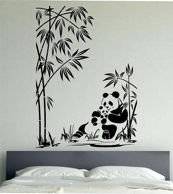 Panda Wall Decal Panda Family Sticker Art Decor Bedroom Design Mural ...