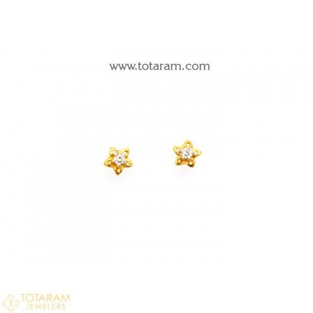 18k Gold Diamond Earrings For Baby 235 Der1048 This Latest Indian Jewelry Design In 1 000 Grams A Low Price Of 84 74