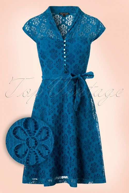 60s Emmy Flower Lace Dress In Sea Blue En 2019 Vestidos