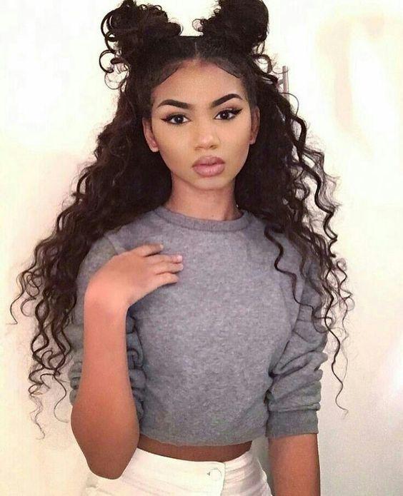10 Super Cute Space Bun Hairstyles Hair Styles Curly Hair Styles Naturally Long Hair Styles