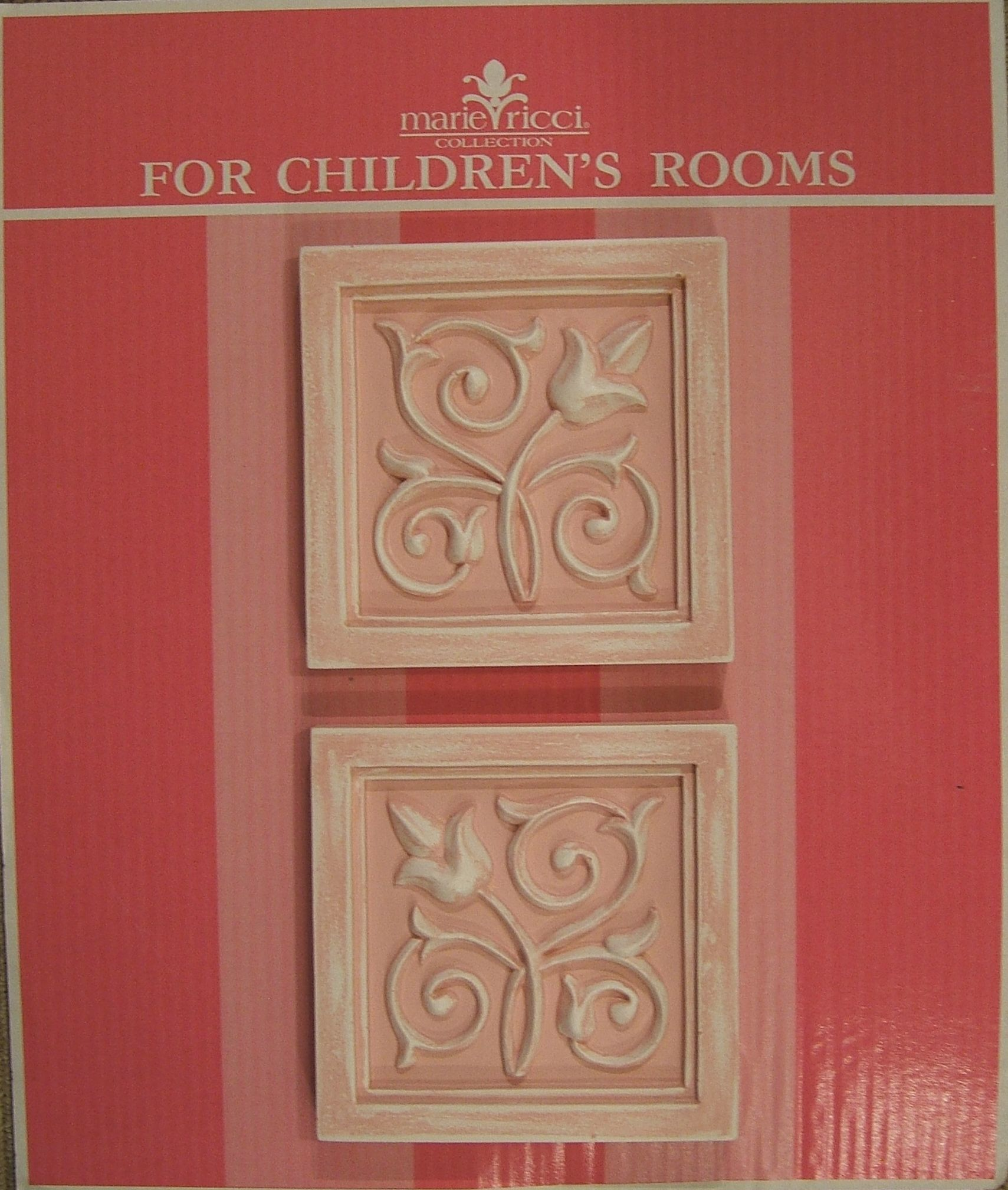 Children's Wall decor by Marie Ricci. Vine accent plaques shown in distressed pink. www.mariericci.com $100