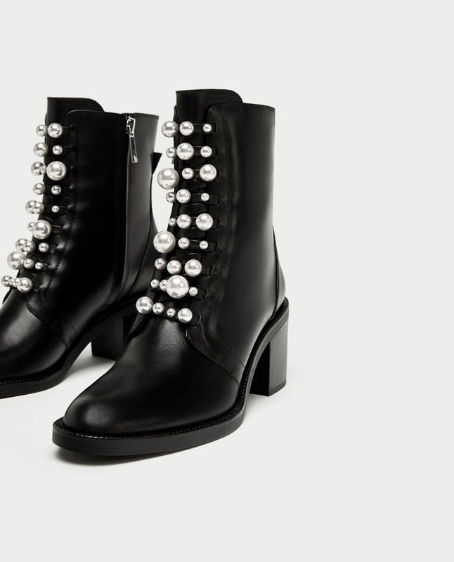 Botki Zara Boots Leather Boots Heels Pearl Boots