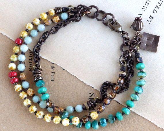 Amazonite bracelet. Teal bracelet. Aqua bracelet. Blue gemstone bracelet. Multistrand bracelet. Boho chic jewelry. Czech glass jewelry.
