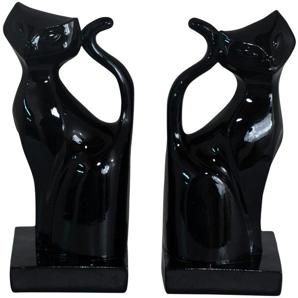 Your bookcase just became a lot more chic. Use these charming cat bookends to anchor your books or as a decorative accent where you see fit. The black resin and...