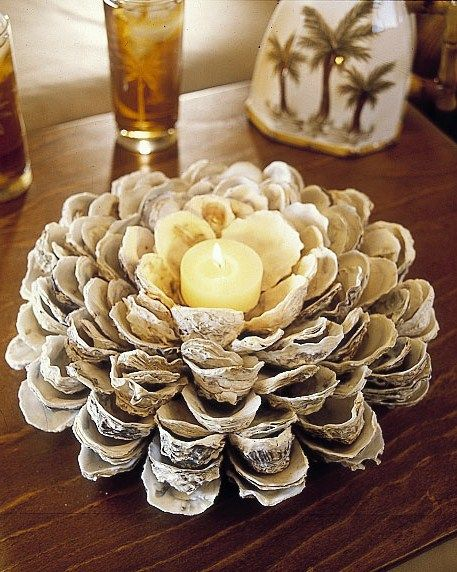 Oyster Shell Candle Holder Seashells Coquillage Deco Bricolage