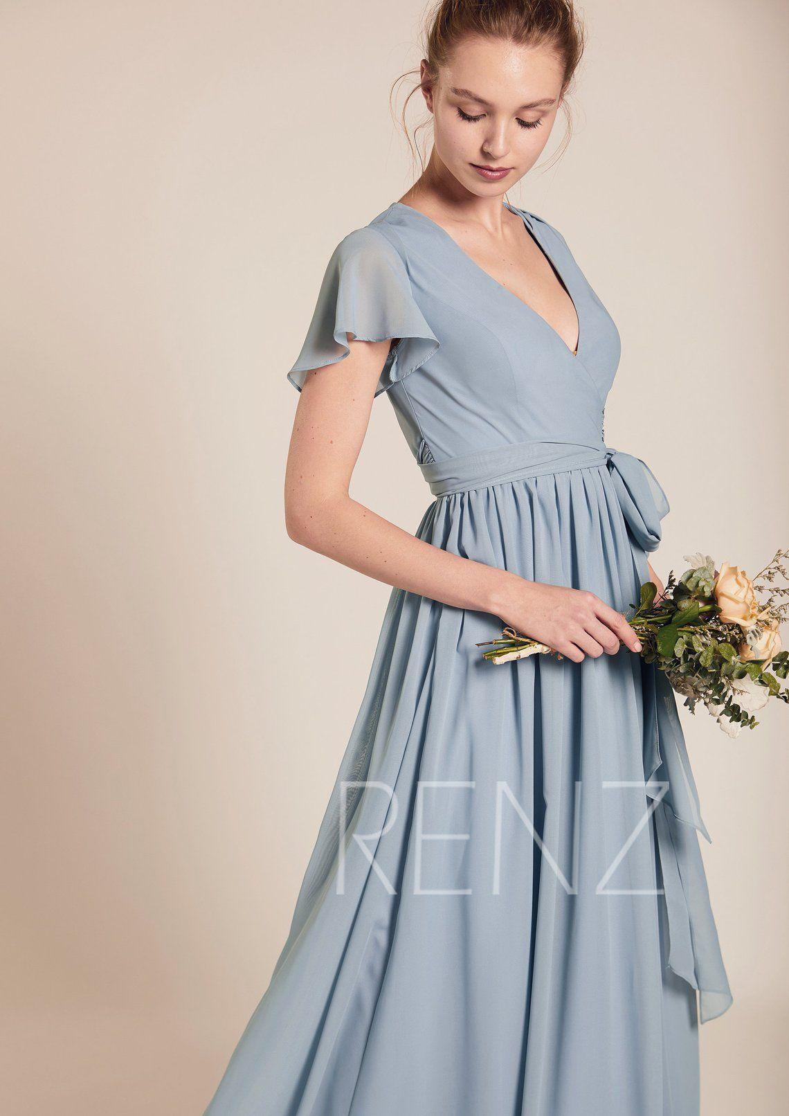 70e80407d3 Bridesmaid Dress Dusty Blue Chiffon DressWedding DressV Neck