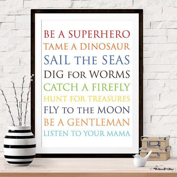 Be A Superhero, Tame A Dinosaur, PRINTABLE ART, Wall Art Decor, Baby Shower Decor, Boys Room Decor, Modern Baby Art, Baby Boy Room Art