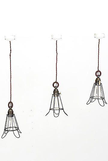 Set of 3 Italian Vintage Industrial Metal Wire Shade Pendants