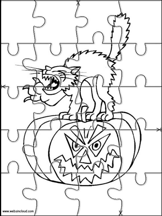 Printable jigsaw puzzles to cut out for kids Halloween 9 Coloring ...