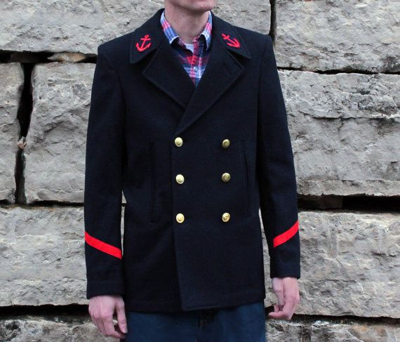 Upcycled Vintage French Navy Pea Coat in Wool with Pin Up Girl ...