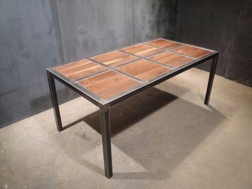 Mesa estilo industrial vintage hierro y madera muebles for Mesa industrial de madera y metal