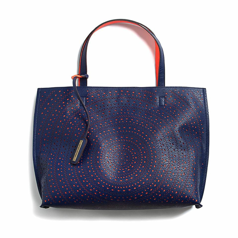 Kaelyn laser cut two tone reversible tote