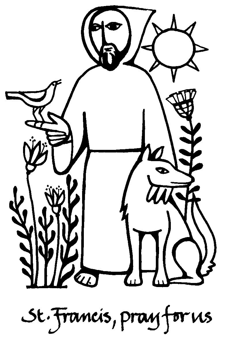 Saint Francis of Assisi Catholic coloring page. Feast day is October ...