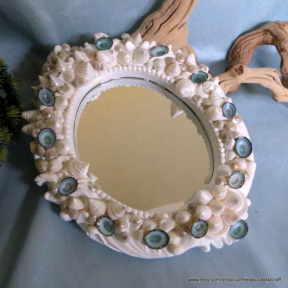 Shabby Chic Coastal mirror_Sea shell by CarmelasCoastalCraft