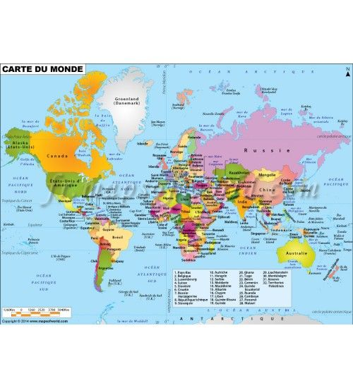 World Map in French Get editable map of world in french language