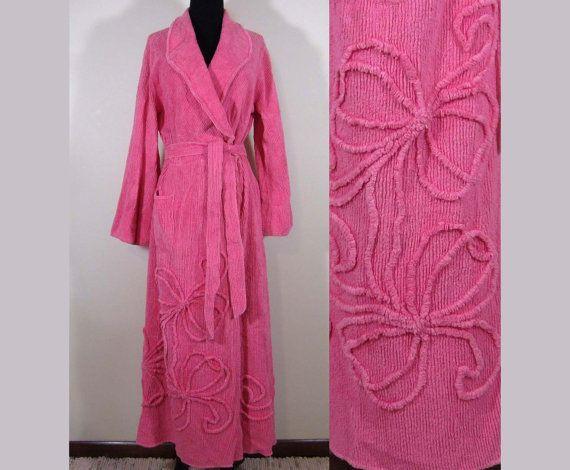 vintage pink chenille robe floor length