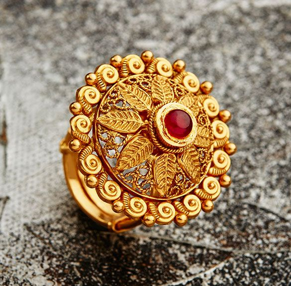 Top 25 Indian Antique Jewellery Designs For Women: Wedding-ring-for-women-in-gold-with-stones