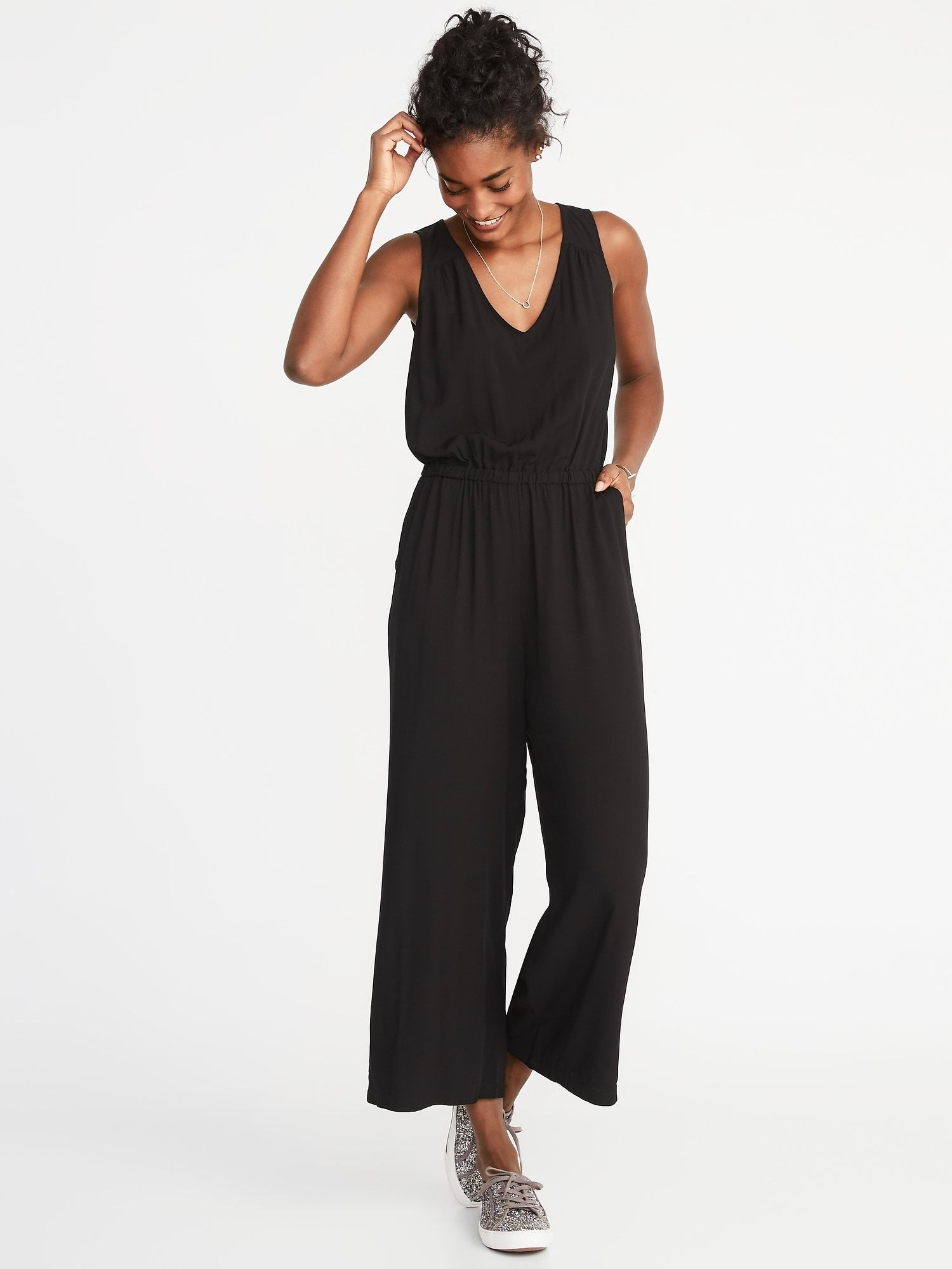 2019 New Womens Summer Loose V-neck Sling Jumpsuit Solid Color Modal Jumpsuit Sleek Minimalist Classic Comfort Choice Materials Women's Clothing