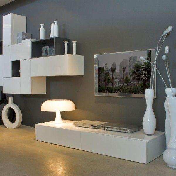 Mueble de dise o minimalista blanco y gris centros tb - Mueble salon minimalista ...