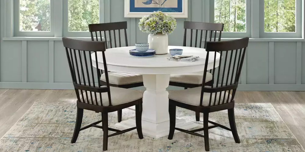 Cindy Crawford Home Cape Cottage White 5 Pc Dining Set With Black Chairs Dining Room Sets Home White Round Dining Table