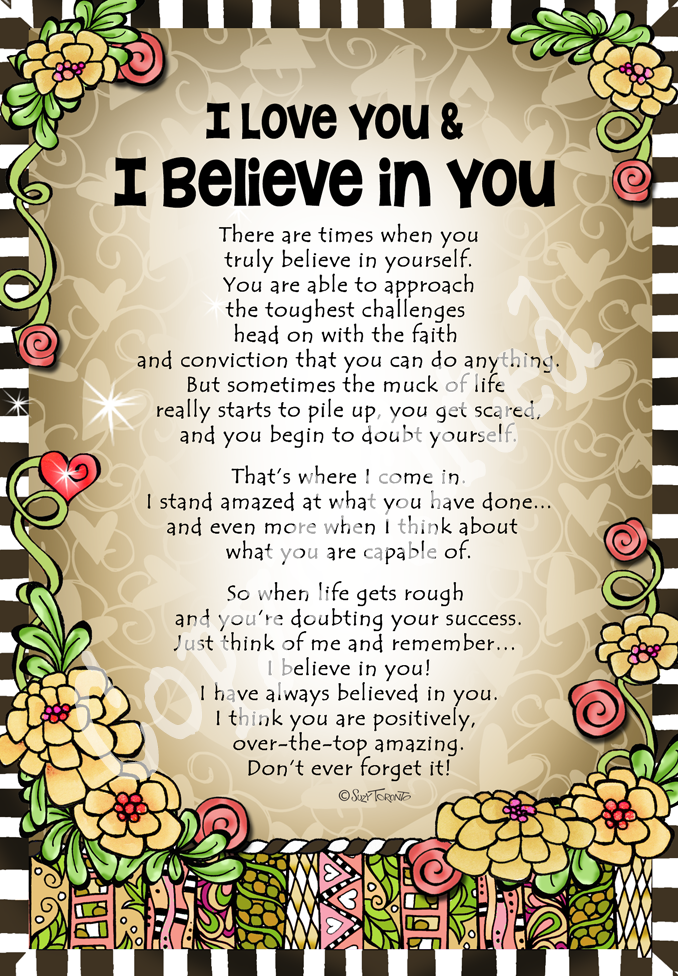 I Love You & I Believe In You   8×10 Gifty Art   Suzy Toronto Gifts for Women is part of Love you daughter quotes -