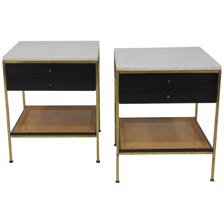 Pair of Paul McCobb Irwin Collection Brass Nightstands with Marble