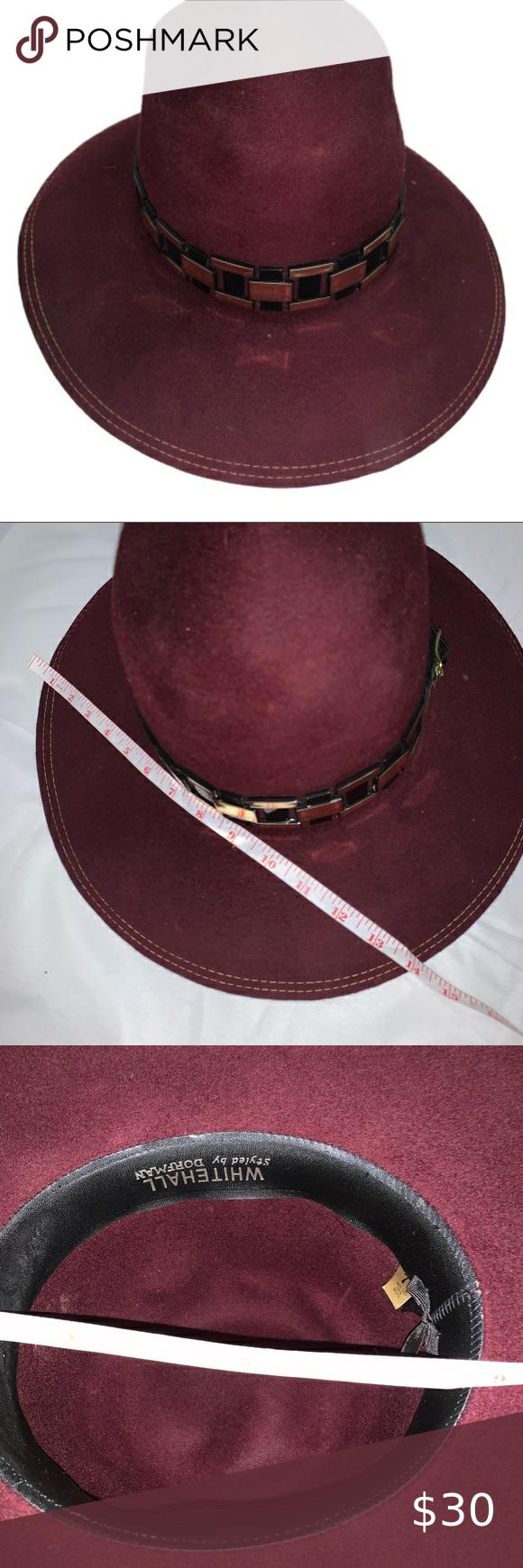Vintage Whitehall Dorfman Burgundy Maroon Wool Hat Wool Hat Black Accessories Women Accessories Hats