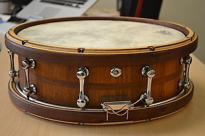Stunning Walnut Stave 5x14 Snare with Maple Walnut Shaped Hoops | eBay