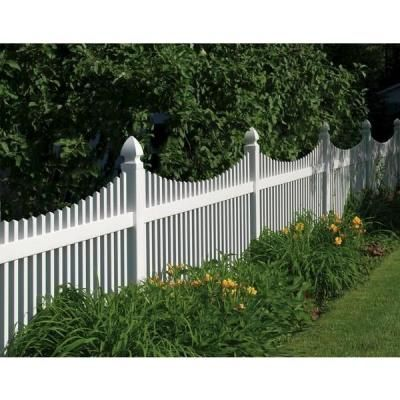 Veranda Yukon Scallop 4 Ft H X 8 Ft W White Vinyl Un Assembled Fence Panel 73011753 The Home Depot White Vinyl Fence Vinyl Picket Fence White Picket Fence