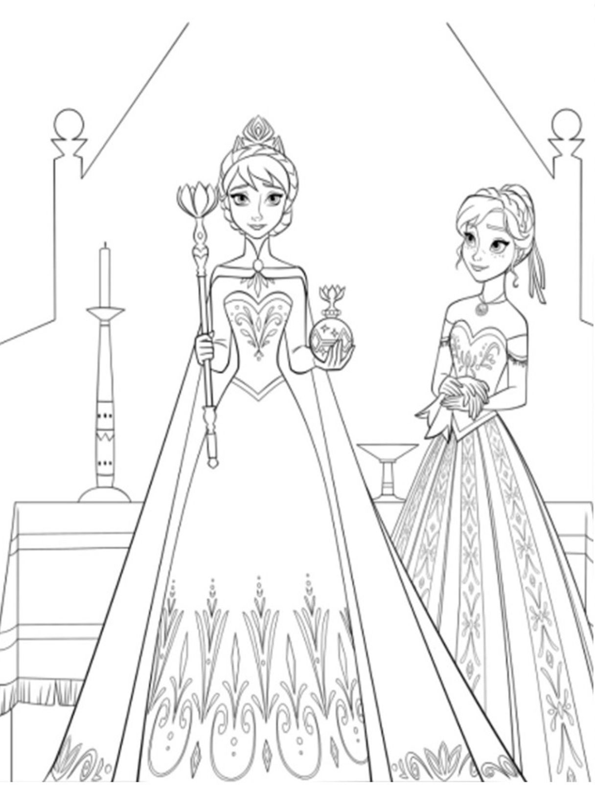Free coloring in pages frozen - Elsa And Anna Colouring Pages Image