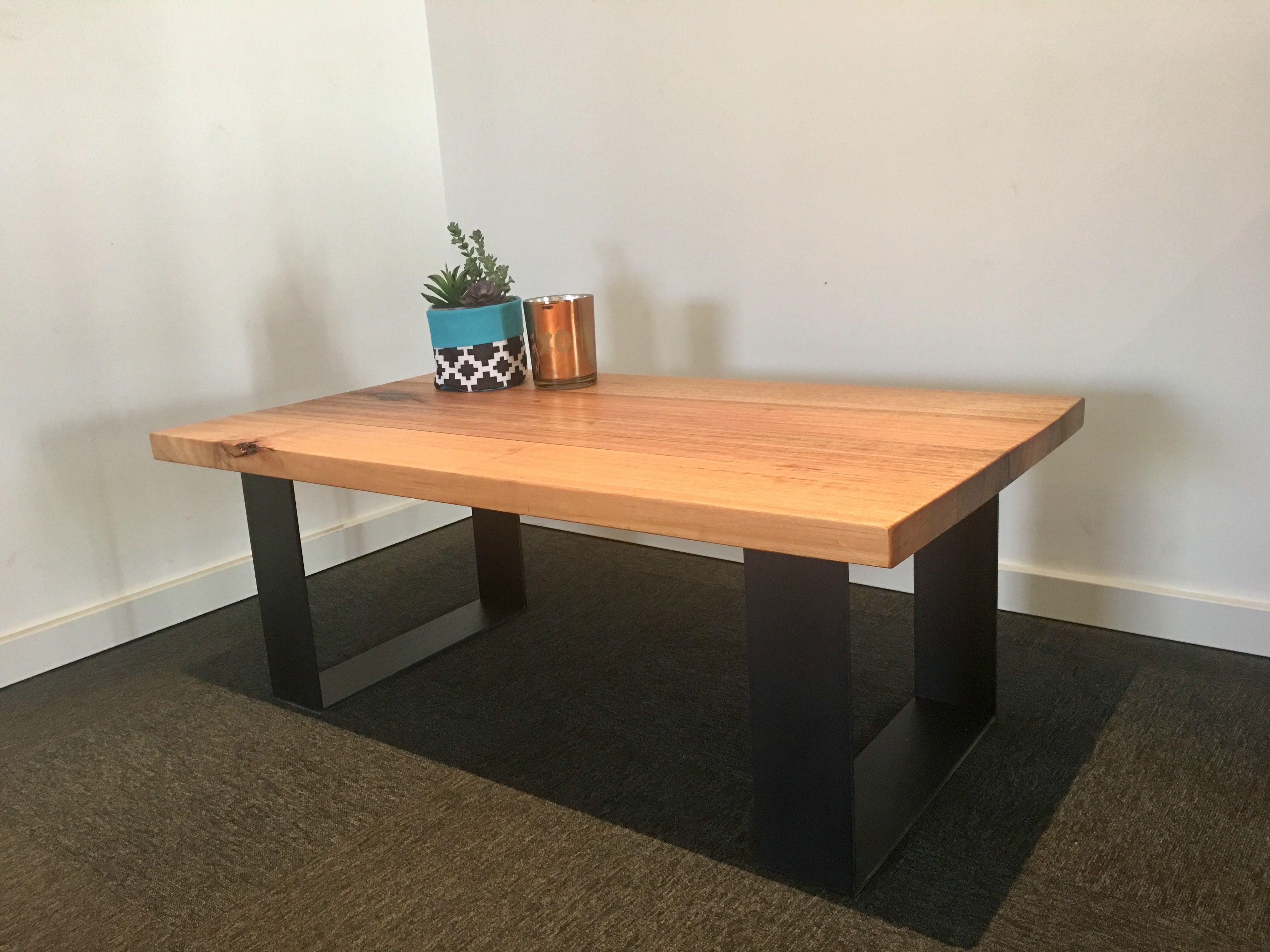 Recycled Tasmanian oak coffee table with black metal legs