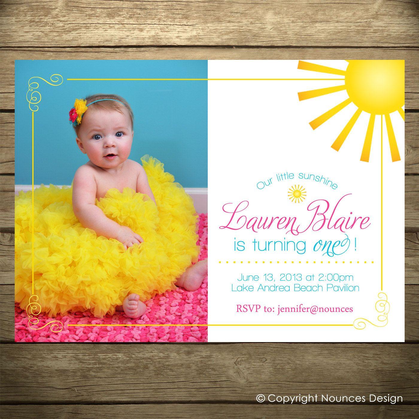 You Are My Sunshine Invitation Printable File Sunshine