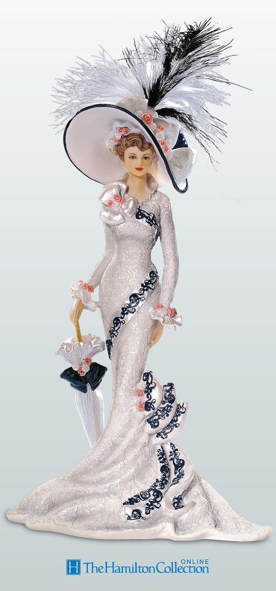 Show off your love of vintage fashion with this posh collection of Thomas Kinkade Victorian lady figurines::