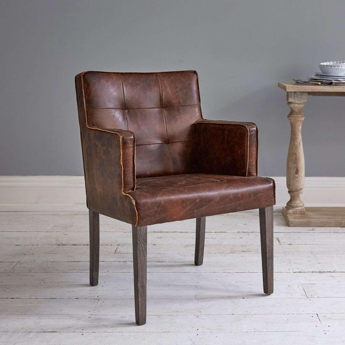Adelaide Brown Leather Dining Chair With Arms Дом