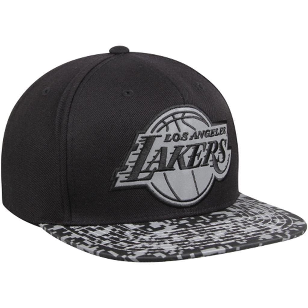 Mens Los Angeles Lakers Mitchell   Ness Black Digital Camo Reflective Visor  Snapback Adjustable Hat 652b9b788538