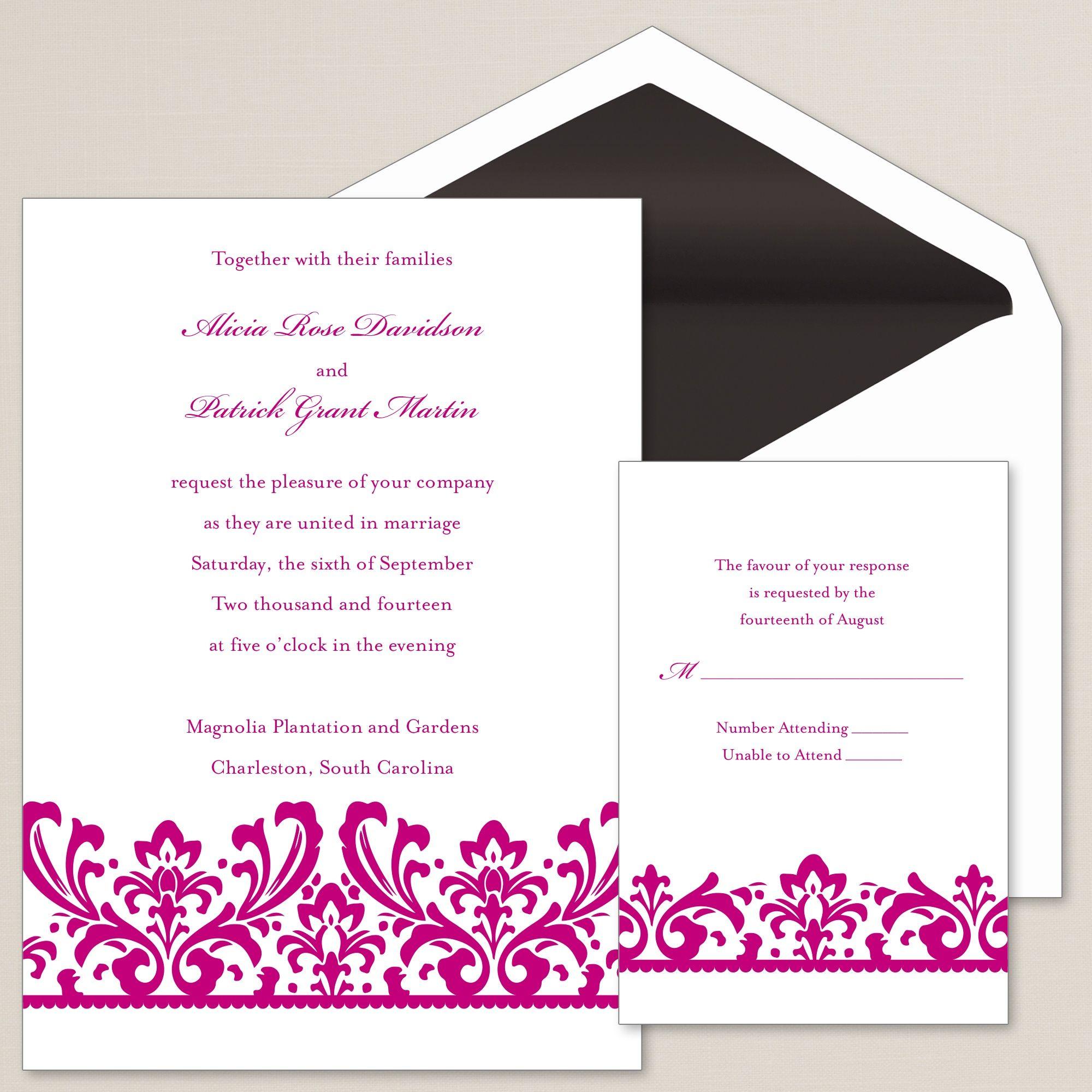 enchanted love affair wedding invitation