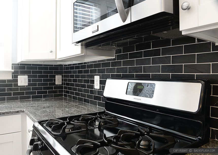 Black Slate Backsplash Tile New Caledonia Granite kitchen