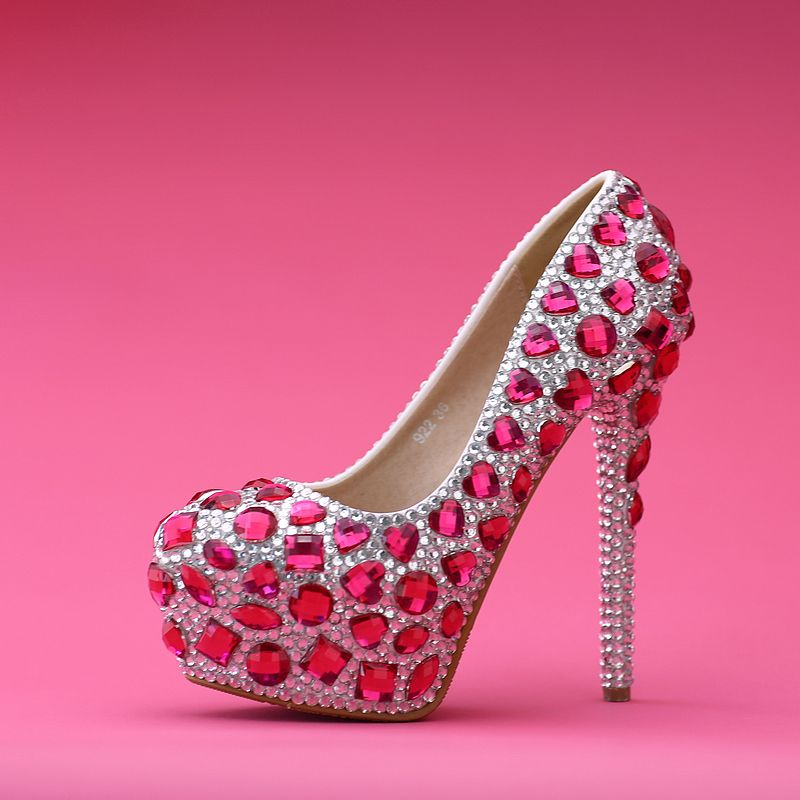 Ultra High Heel Silver With Pink Rhinestone Prom Shoes