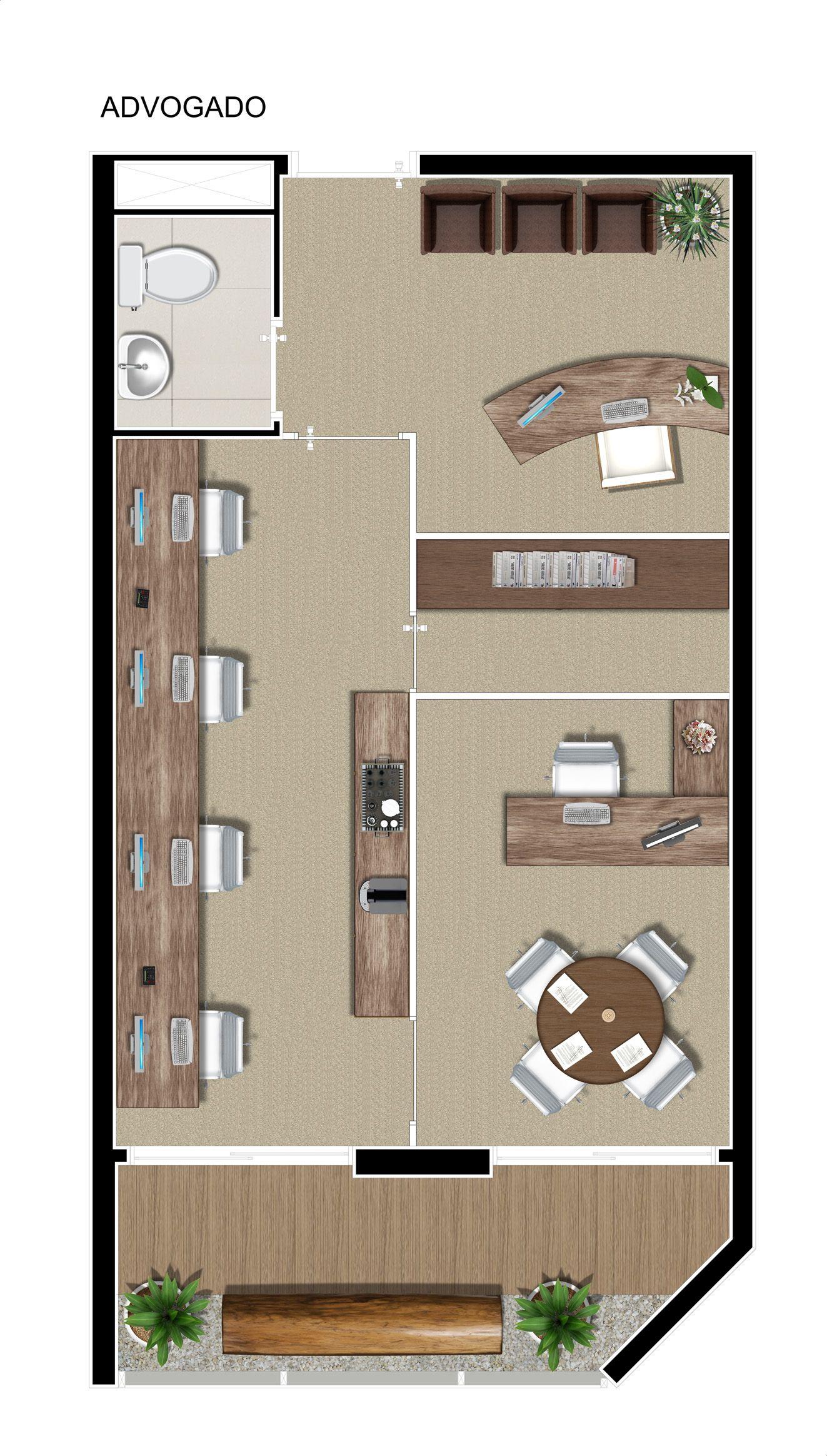 Planta escrit rio de advocacia com 37m escritorio for Oficinas planta arquitectonica