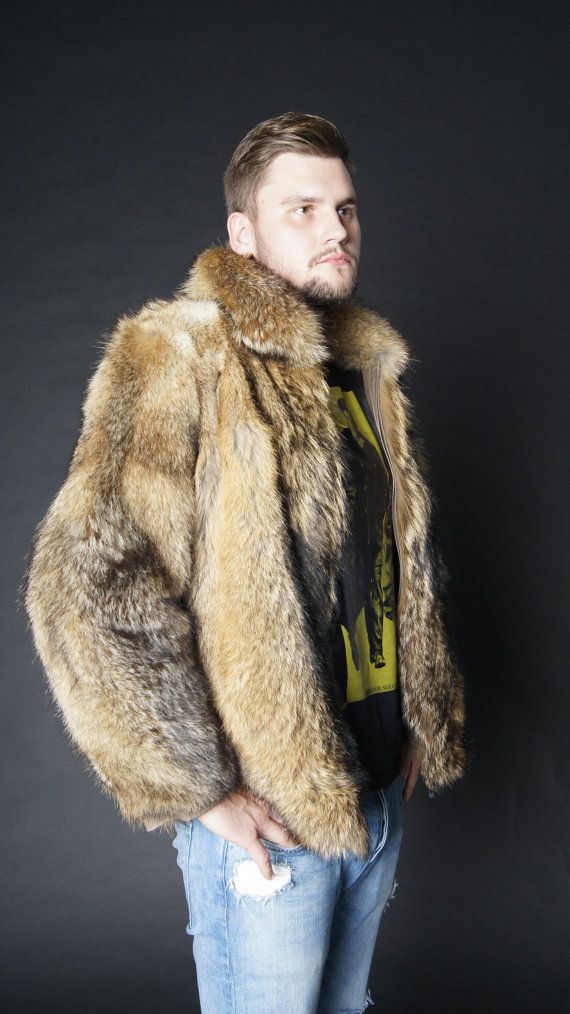 Brand new natural coyote fur jacket coat Mens jacket von EGFURS