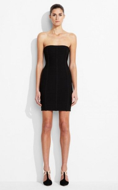 fb6b3cb78748 Essentials Herve Leger Black Bandage Strapless Dress