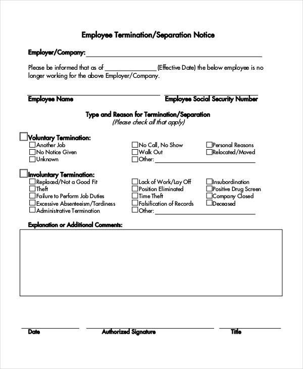 separation notice template free word pdf document downloads - job termination letter