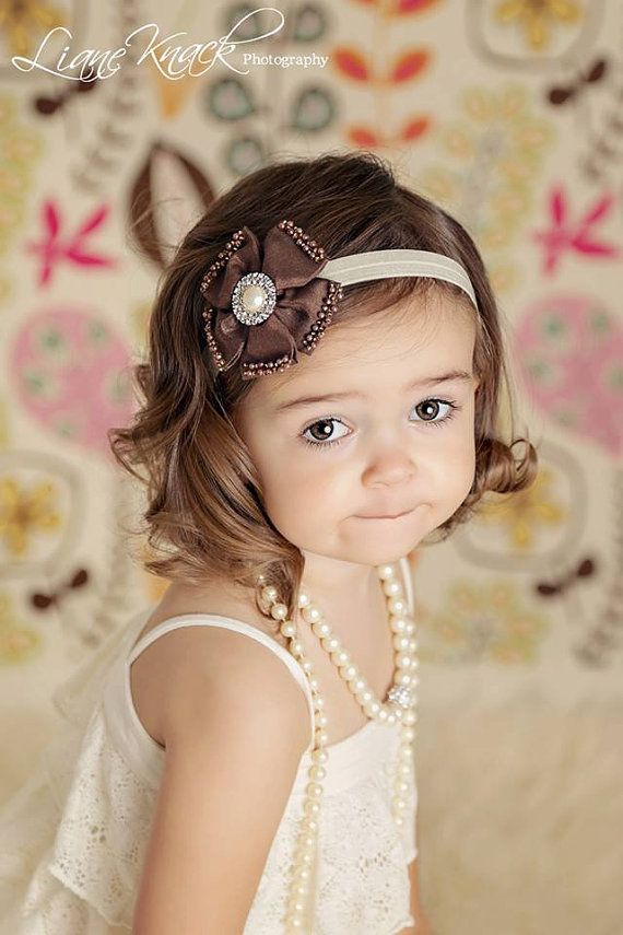 5023710473d Chocolate Brown Silk Flower Headband w  Ivory band rhinestones and pearl.  Perfect for fall autumn time.