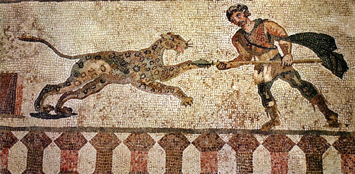 Hunter Attacking Leopard From Eastern Portico. The House Of Dionysus. Late  2nd Century CE